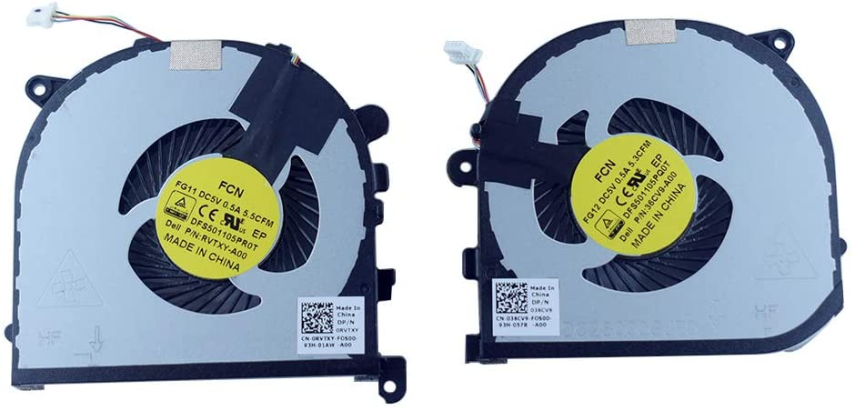Rangale Left & Right Side CPU +GPU Cooling Fan Compatible for Dell Precision 15 (5510) XPS 15 (9550) Series Cooler RVTXY 0RVTXY 36CV9 036CV9 DFS501105PR0T DFS501105PQ0T