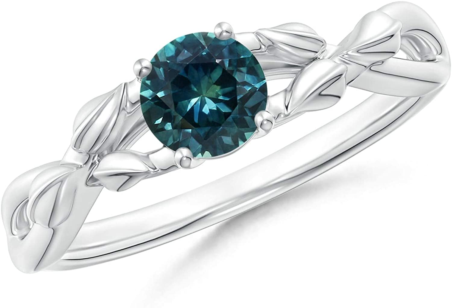 Nature Inspired Montana Sapphire Ring with Leaf Motifs (5mm Teal Sapphire)