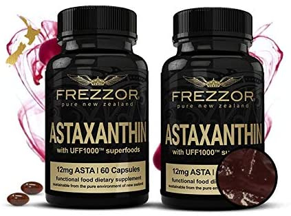 FREZZOR ASTAXANTHIN Black 2-Pack, Astaxanthin 12mg Supplement, Concentrated Carotenoid Antioxidant Oil for Anti-Aging, Cardiovascular Health, Immune System Boost, Vision