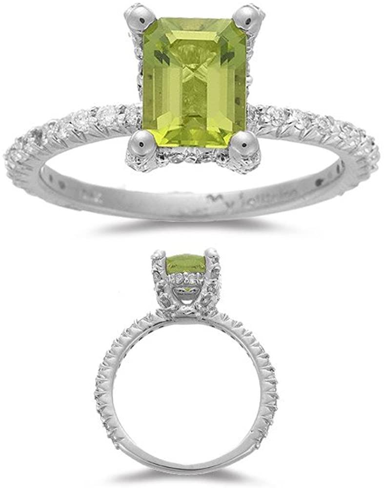 Vogati 0.50 Cts Diamond & 1.60 Cts Emerald Peridot Ring in 14K White Gold