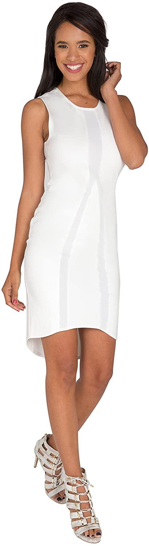 Standards & Practices Modern Womens White Asymmetrical Hem Sleeveless Midi Dress