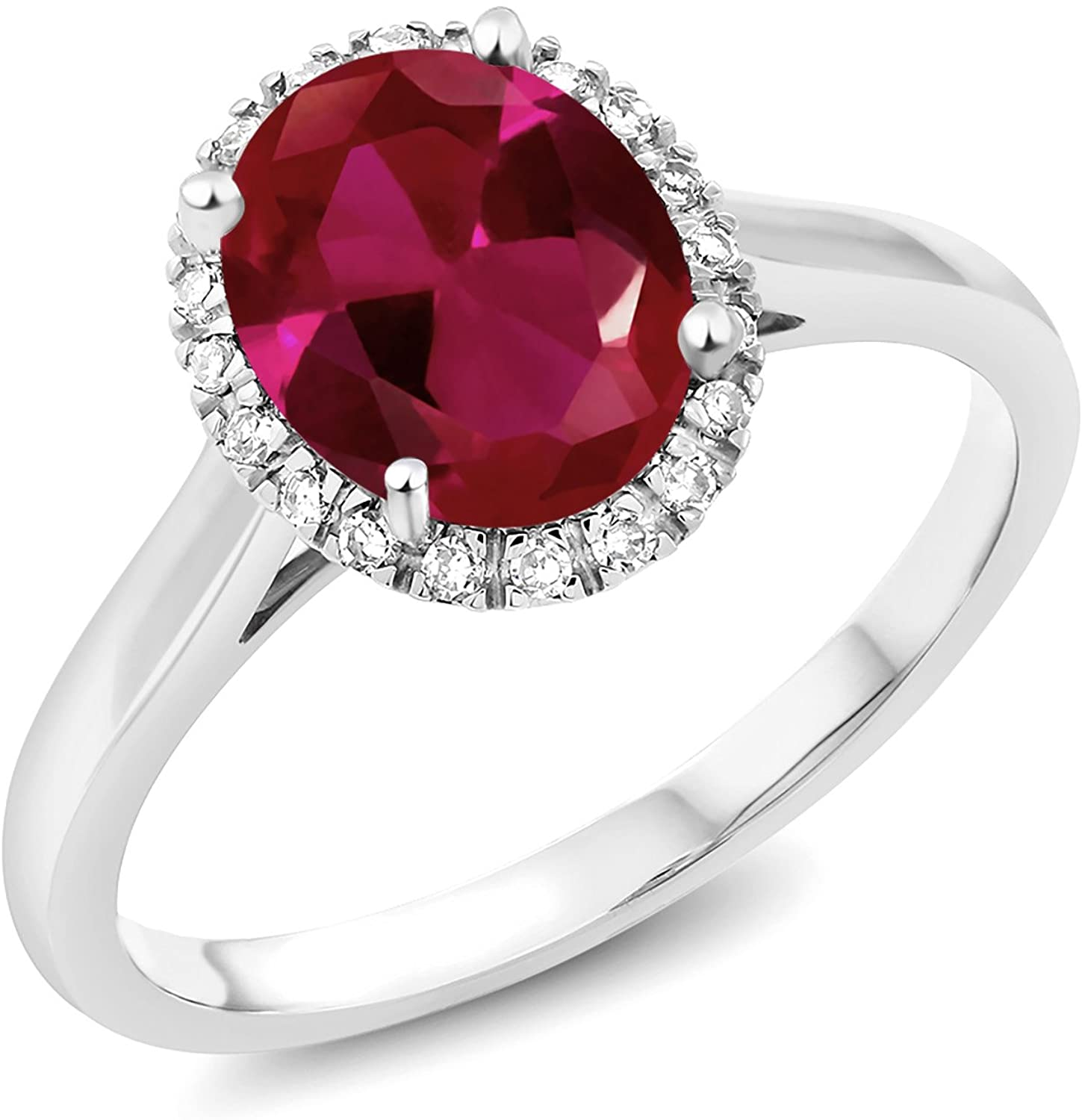Gem Stone King 10K White Gold Red Created Ruby and Diamond Women's Engagement Ring (2.00 Ct Oval Cut Available in size 5, 6, 7, 8, 9)