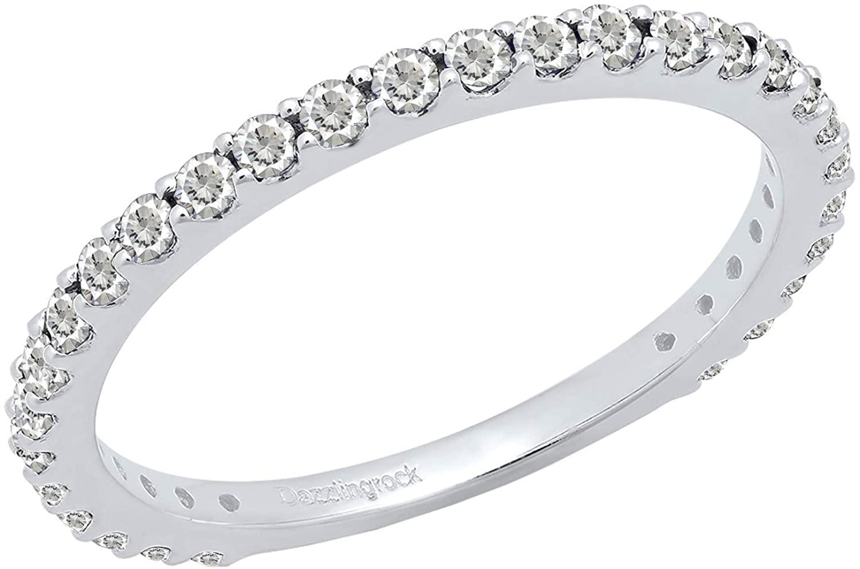 Dazzlingrock Collection 10K Round Lab Created Gemstone Ladies Anniversary Wedding Stackable Band, White Gold