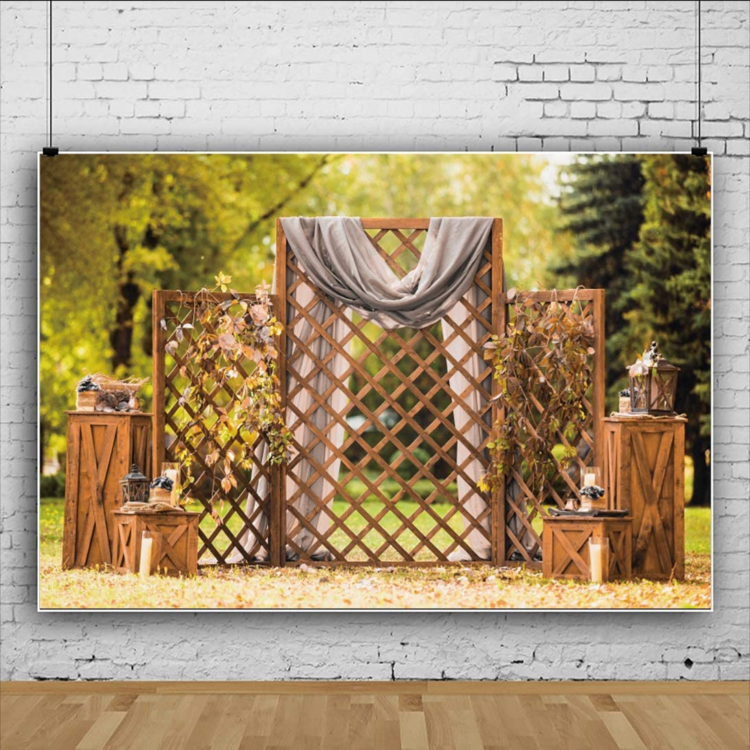 OERJU 12x8ft Wedding Backdrop Wood Stand Forest Wedding Ceremony Photography Background Bridal Shower Party Banner Lover Proposal Engagement Party Decor Kids Adults Portrait Photo Props