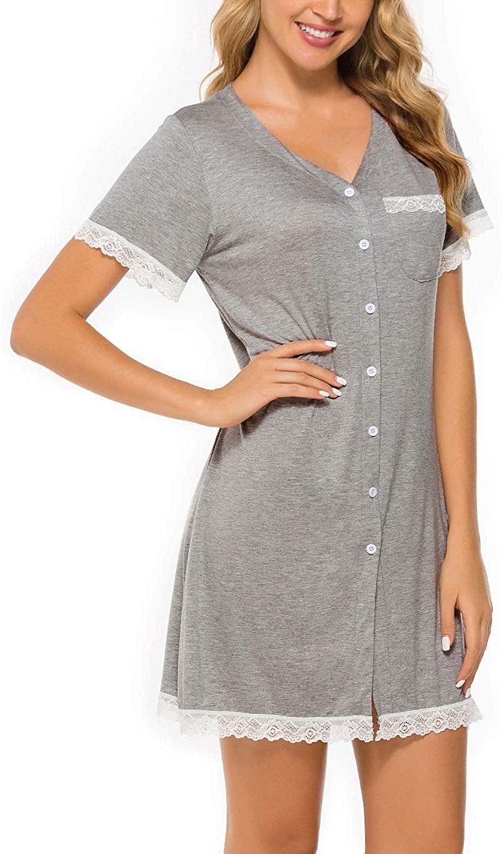 Koitmy Women's Short Sleeve Nightgown Button Down Sleepwear Pajamas Nightshirt