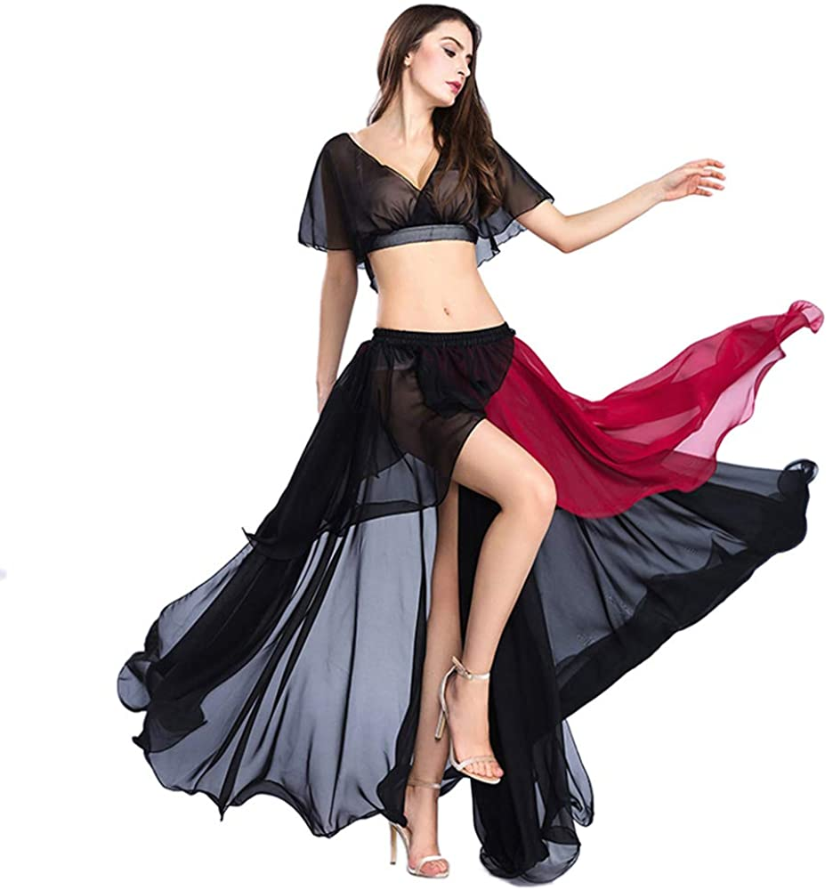 ROYAL SMEELA Belly Dance Costume Set for Women Chiffon Belly Dancing Tops and Skirt Hit-Color Dancing Skirts Dress, One Size
