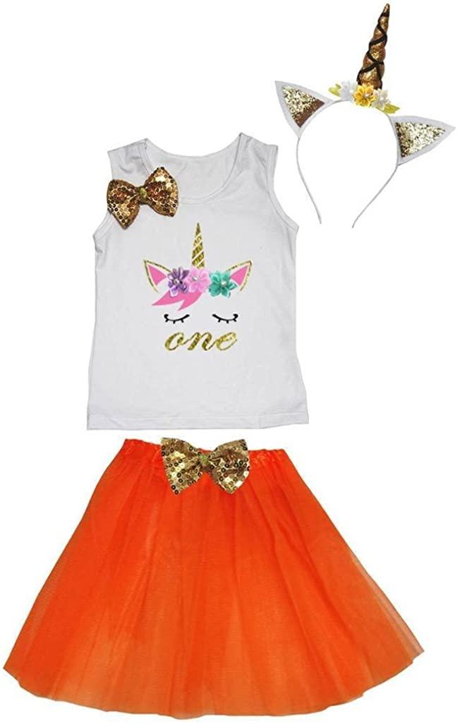 Leaf Sison Unicorn Birthday Shirt Orange Tutu Headband Costume 1-10y (One, 1-2 Year)