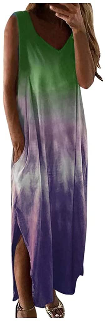 Maxi Dresses for Women Casual,Women's Tie Dye V Neck Sleeveless Split Long Maxi Dress Casual Summer Beach Sundress
