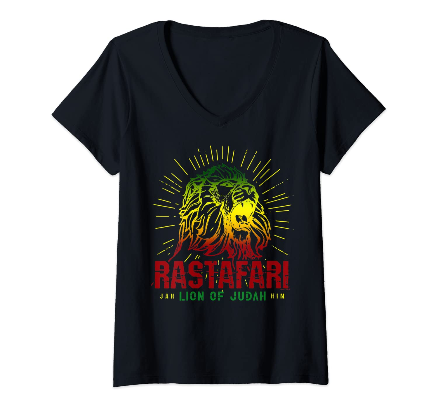 Womens Rastafari Lion Of Judah - Jah Him Reggae Music Rasta Gift V-Neck T-Shirt