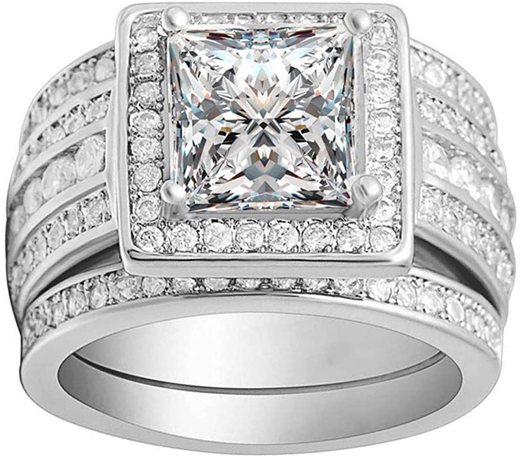 Beverly Bridal Wedding Ring Set 3 Piece Engagement Ring for Women Two Matching Anniversary Bands Sterling Silver Square Halo Design Cubic Zirconia Princess Cut Center Stone Jewelry for Ladies