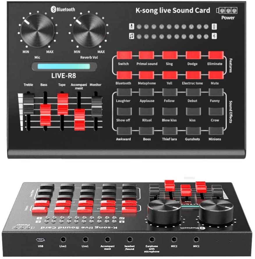 MINILIFE R8 Live Sound Card Portable Mobile Audio Mixer USB Audio Interface Volume Adjustable with Multiple Funny Sound Effect for Recording YouTube LiveMe Facebook Live Periscope Anchor