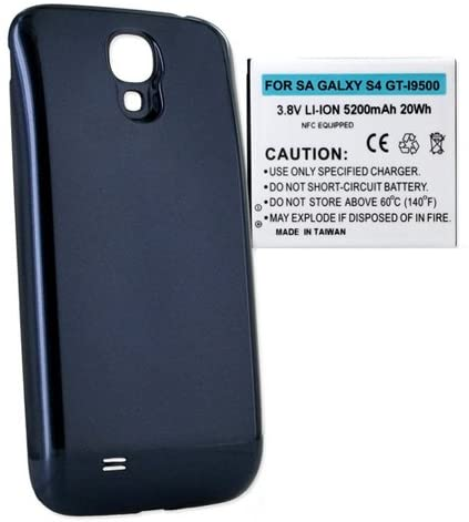 Samsung Galaxy S4 Cell Phone Battery Ultra High Capacity Extended Battery (5200 mAh) Equipped With NFC - Replacement For Samsung Galaxy S4 Cellphone Battery - Includes A Blue Cover