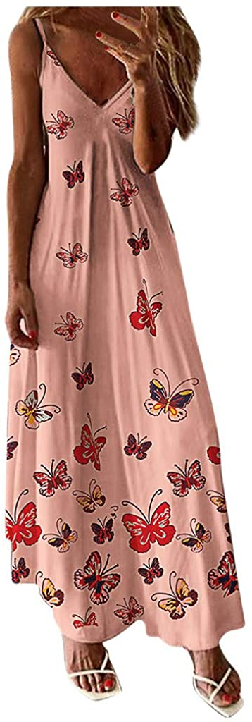 Summer Dresses for Women Maxi,Women's Sleeveless Cami Maxi Dresses Spaghetti Strap Wave Point Summer Casual Beach