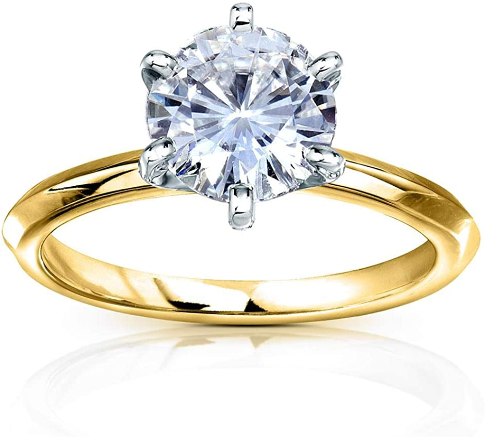 Kobelli Classic Solitaire Round Brilliant Moissanite Engagement Ring 2 Carats 14k Yellow Gold (DEF/VS)