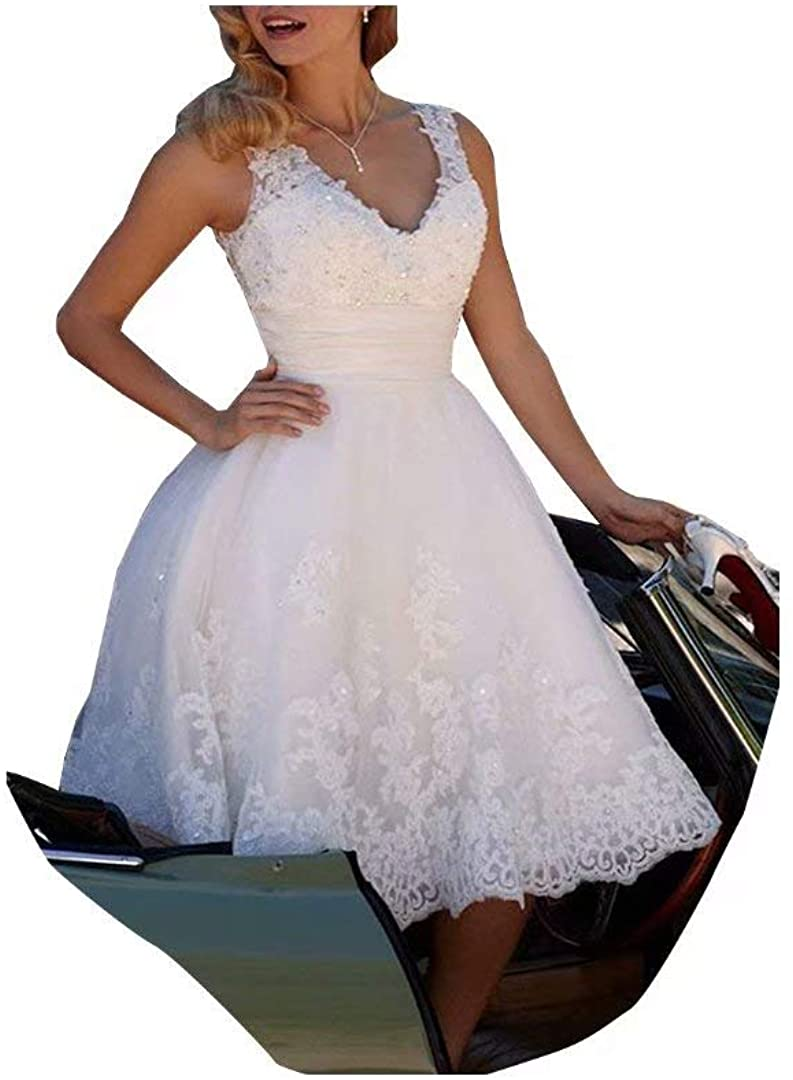 Ci-ONE Elegant Short Bridal Gowns Lace Ball Gown Beach Wedding Dress Beading