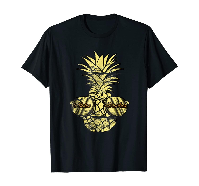Aloha Beaches Pineapple Sunglasses Gold Hawaiian T-Shirt