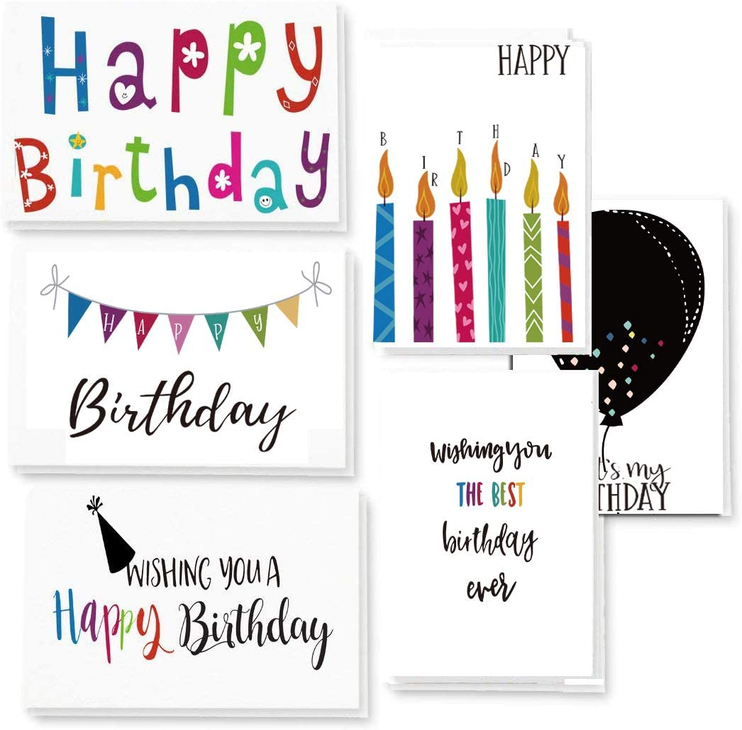 Birthday Cards Bulk 120 Count Assortment Happy Birthday Cards with Envelopes and Seals, Blank Note Cards 4 x 6 inch, Handwritten Creative Bold Colorful Desgin, Blank on the inside