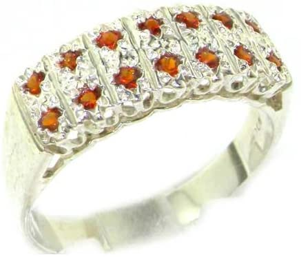 925 Sterling Silver Real Genuine Garnet Womens Band Ring