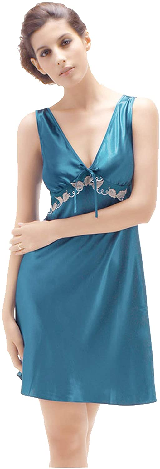 Summer Lady Silk Pajamas-Embroidered+mesh Vest Dress-Women's Lingerie Sleepwear