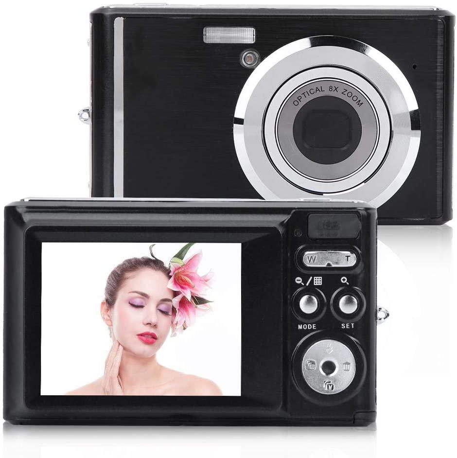 Digital Camera, 2.4 Inch Screen Mini HD Digital Camera 8X Optical Zoom 720P Video 20MP Image for Children, Teenagers, Adult Beginners, The Elderly(Black)