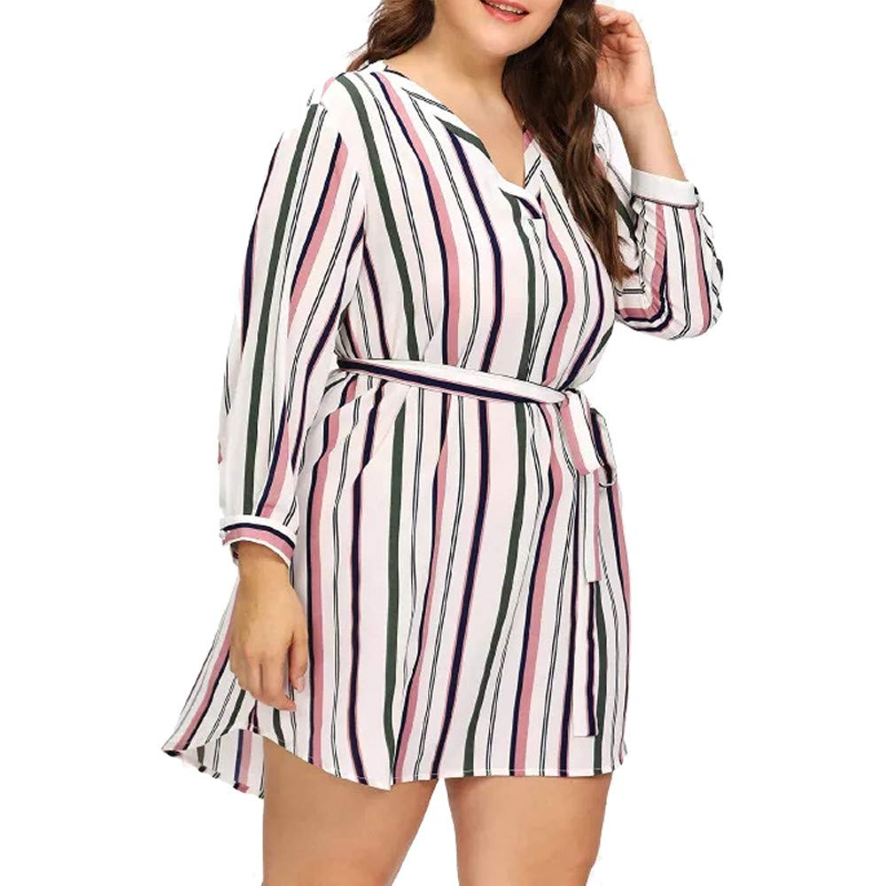 Plus Size Womens Stripe Long Boho Dress Lady Beach Sundrss Maxi Dress Dress Long Sleeve Women Fashion Casual Print Party