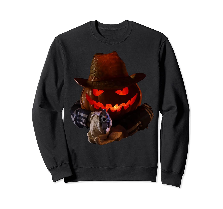 Evil Pumpkin with Gun Funny Adults Cowboy Halloween Costume Sweatshirt