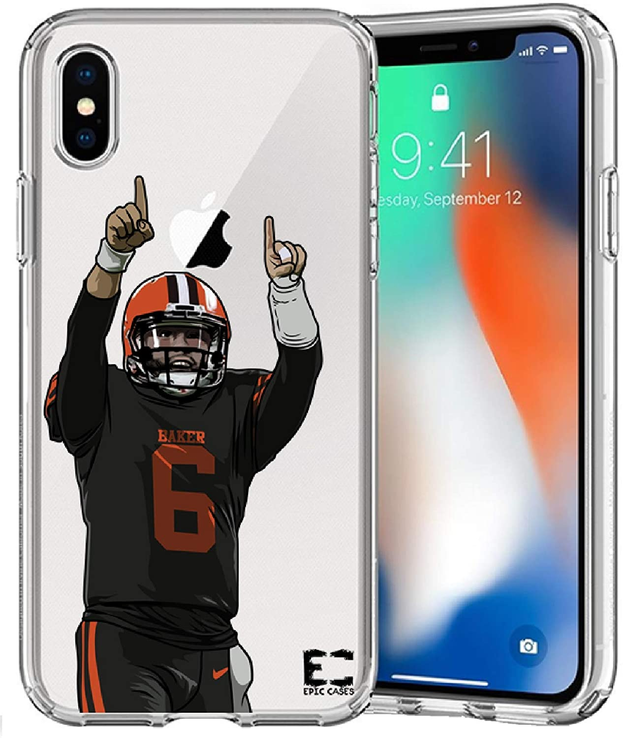 iPhone X iPhone Xs Case Epic Cases Ultra Slim Crystal Clear Football Series Soft Transparent TPU Case Cover Apple (Baker Browns, iPhone X/XS)
