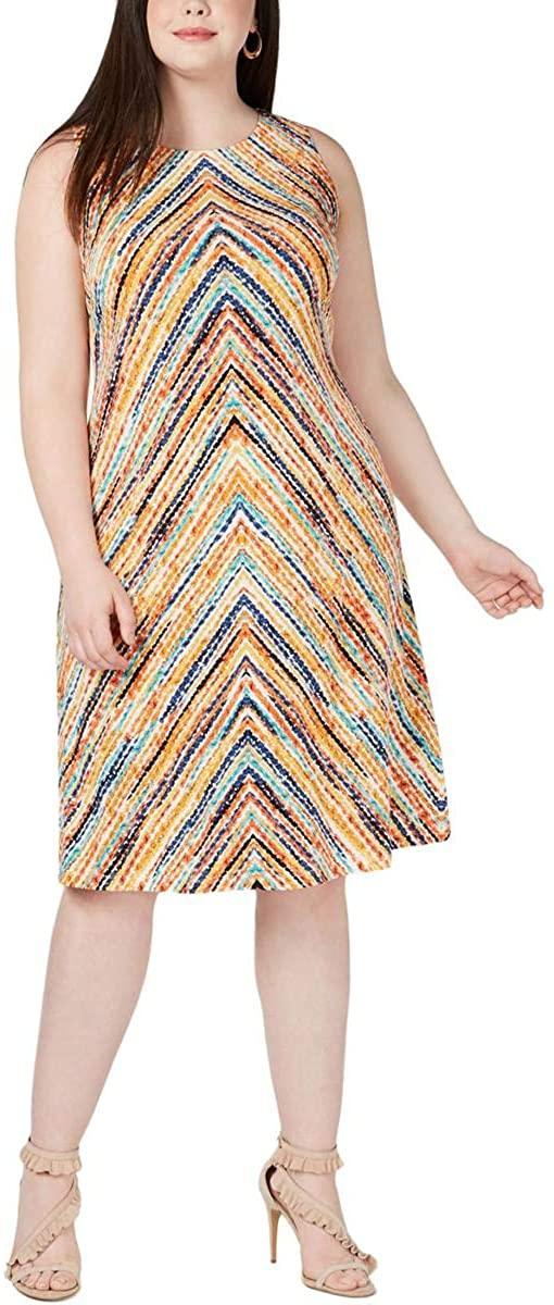Jessica Howard Womens Plus Midi Printed Shift Dress