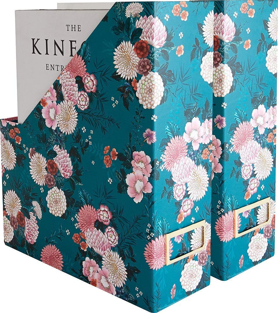 Blu Monaco Foldable Magazine File Holder with Gold Label Holder - Set of 2 Cardboard Magazine File Boxes - Floral and Teal Desk Organizers and Accessories