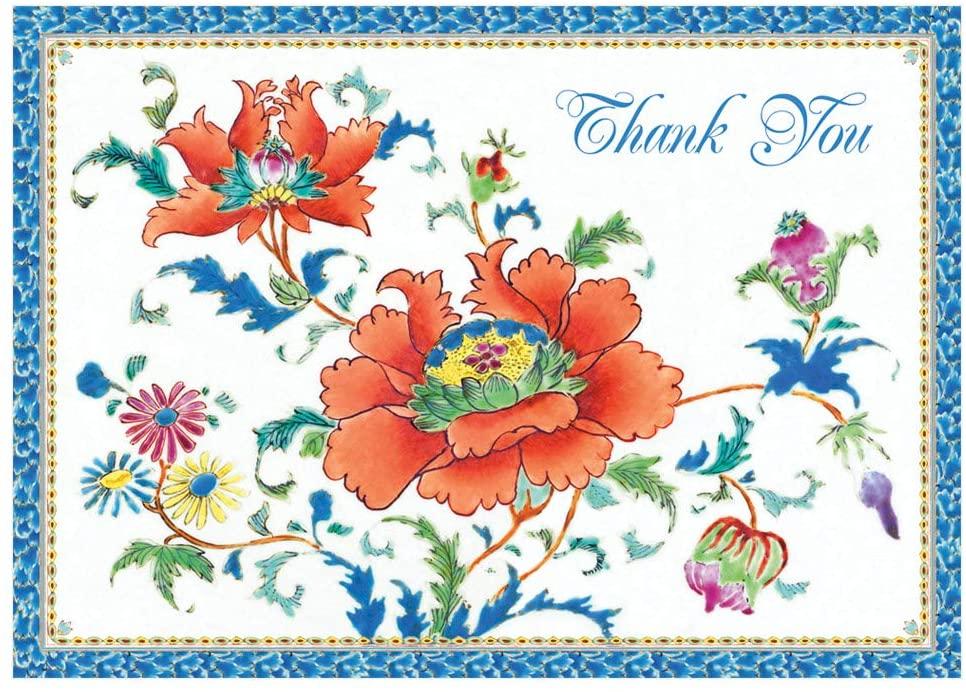 Caspari Chinese Ceramic Thank You Notes, 32 Blank Cards & Envelopes