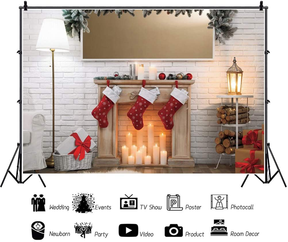 Leowefowa White Brick Wall Fireplace Xmas Stockings Timbers Stand Lamps Backdrop for Photography 10x6.5ft Christmas Background Xmas Party Banner Child Baby Photo Shoot Studio Props