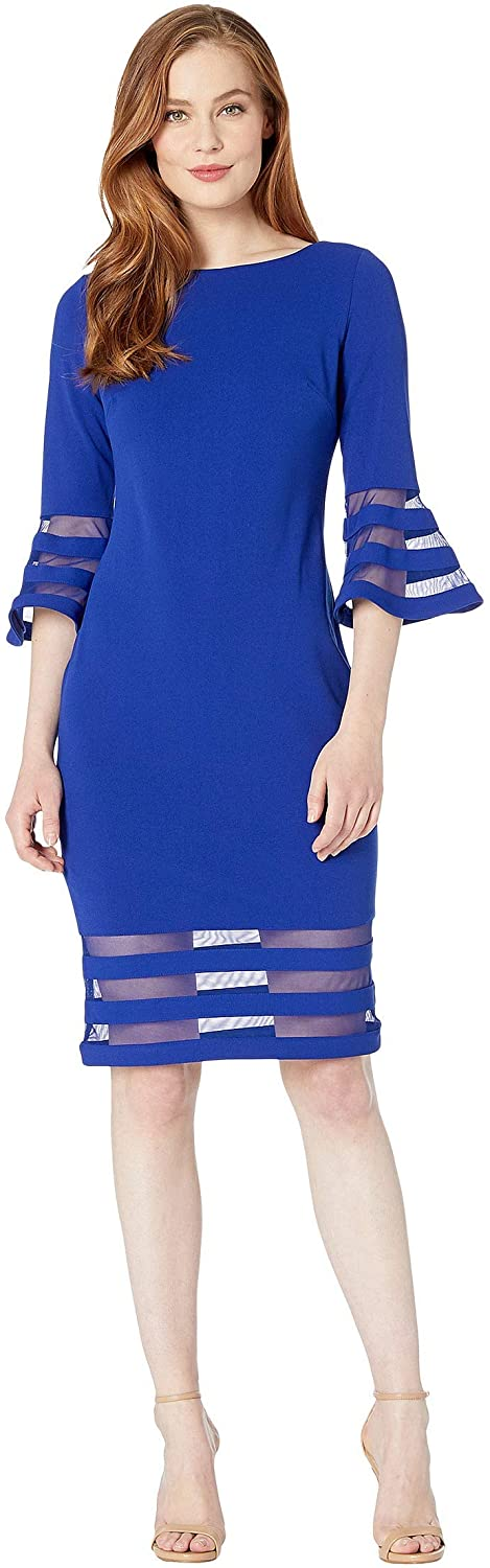 Calvin Klein Bell Sleeve Dress with Illusion at Cuff and Hem