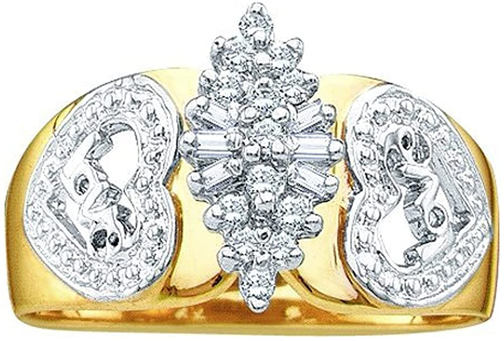 Dazzlingrock Collection 0.15 Carat (ctw) 10K Round & BaguetteWhite Diamond Ladies Right Hand Cluster Ring, Yellow Gold