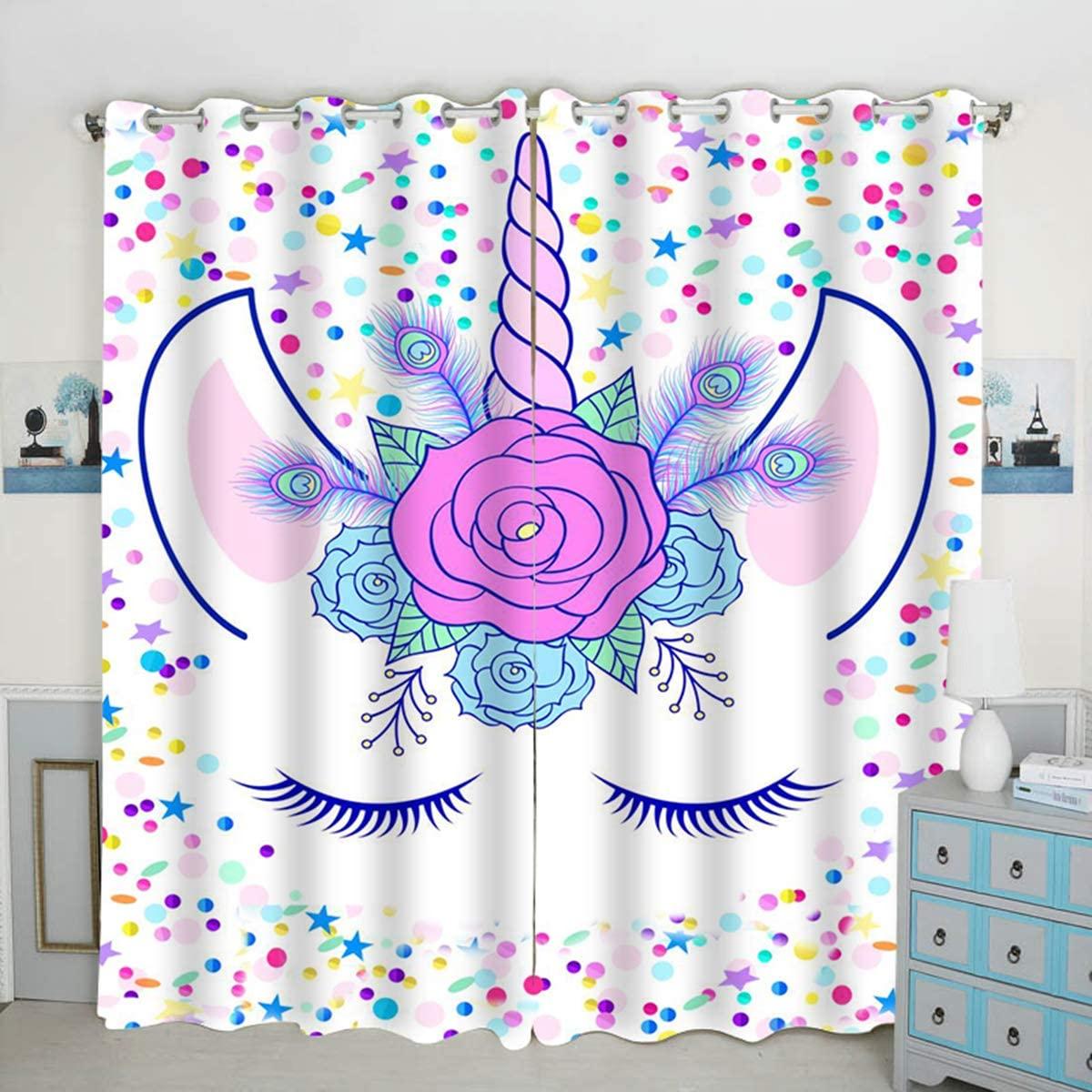 QH Unicorn & Stars Window Curtain Panels Blackout Curtain Panels Thermal Insulated & Light Blocking 42W x 84L inch (Set of 2 Panels)
