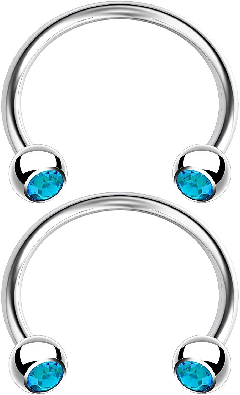 2pc 16g Horseshoe Earrings Surgical Steel Snake Bite Eyebrow Septum Lip Tragus Ear Cartilage Helix Ring 10mm 3/8 inch