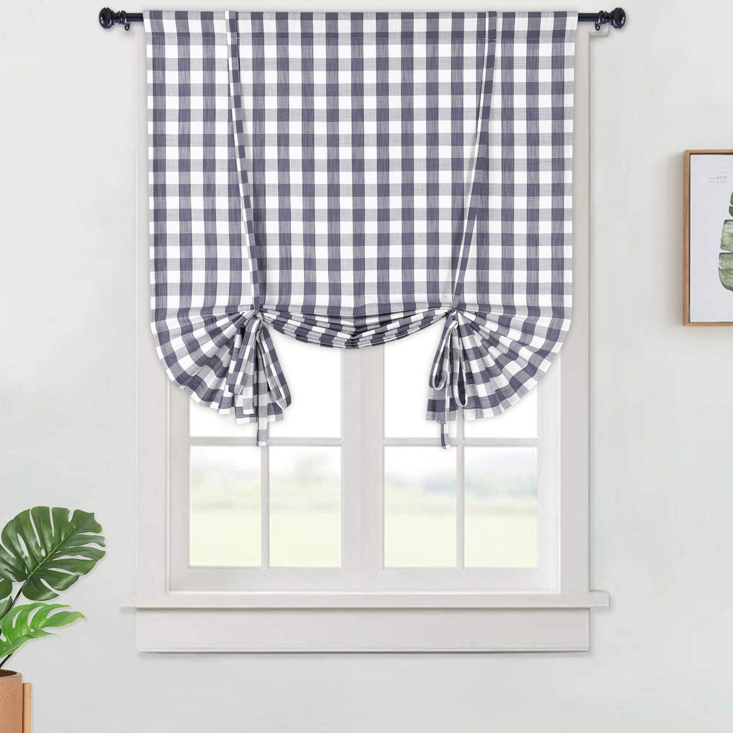 Haperlare Grey Tie Up Curtains in Gingham Plaid Check Fabric, Buffalo Plaid Pattern Farmhouse Tie Up Shades Thick Yarn Dyed Kitchen Window Curtains Cafe Curtains, 42