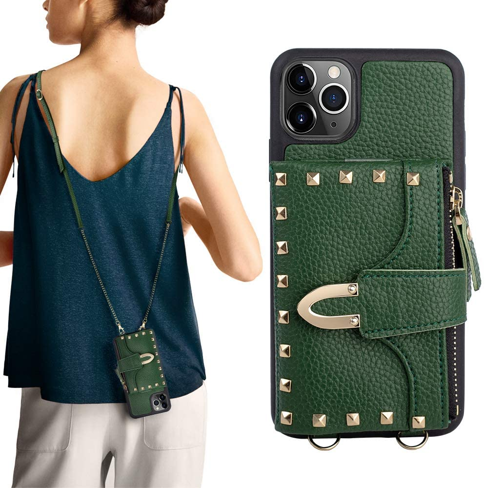 iPhone 11 Pro Max Wallet Case, ZVE iPhone 11 Pro Max Credit Card Holder Case with Wallet Crossbody Handbag Purse Wrist Strap Protective Case Cover for Apple iPhone 11 Pro Max, 6.5 inch - Dark Green