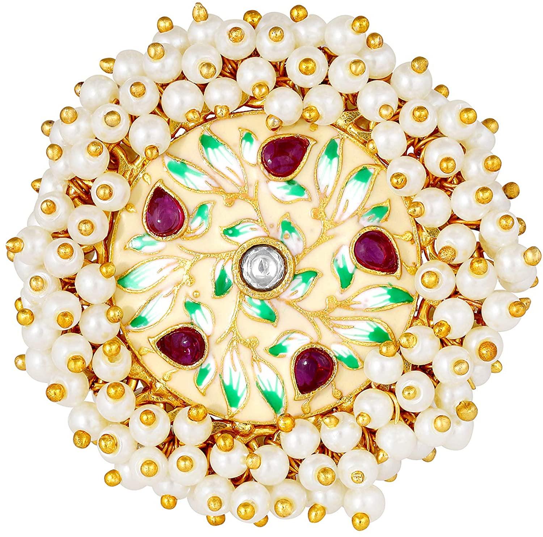 Aheli Ethnic Fashion Wear Enamel Work Wedding Designer Kundan Faux Stone Adjustable Pearl Ring Traditional Jewelry for Women