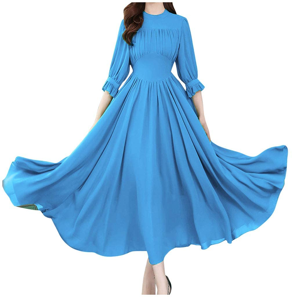 Buedvo Dress for Women A-Line Creased 3/4 Flare Sleeve Boho Floral Elegant Loose Party Casual Summer Swing Dress
