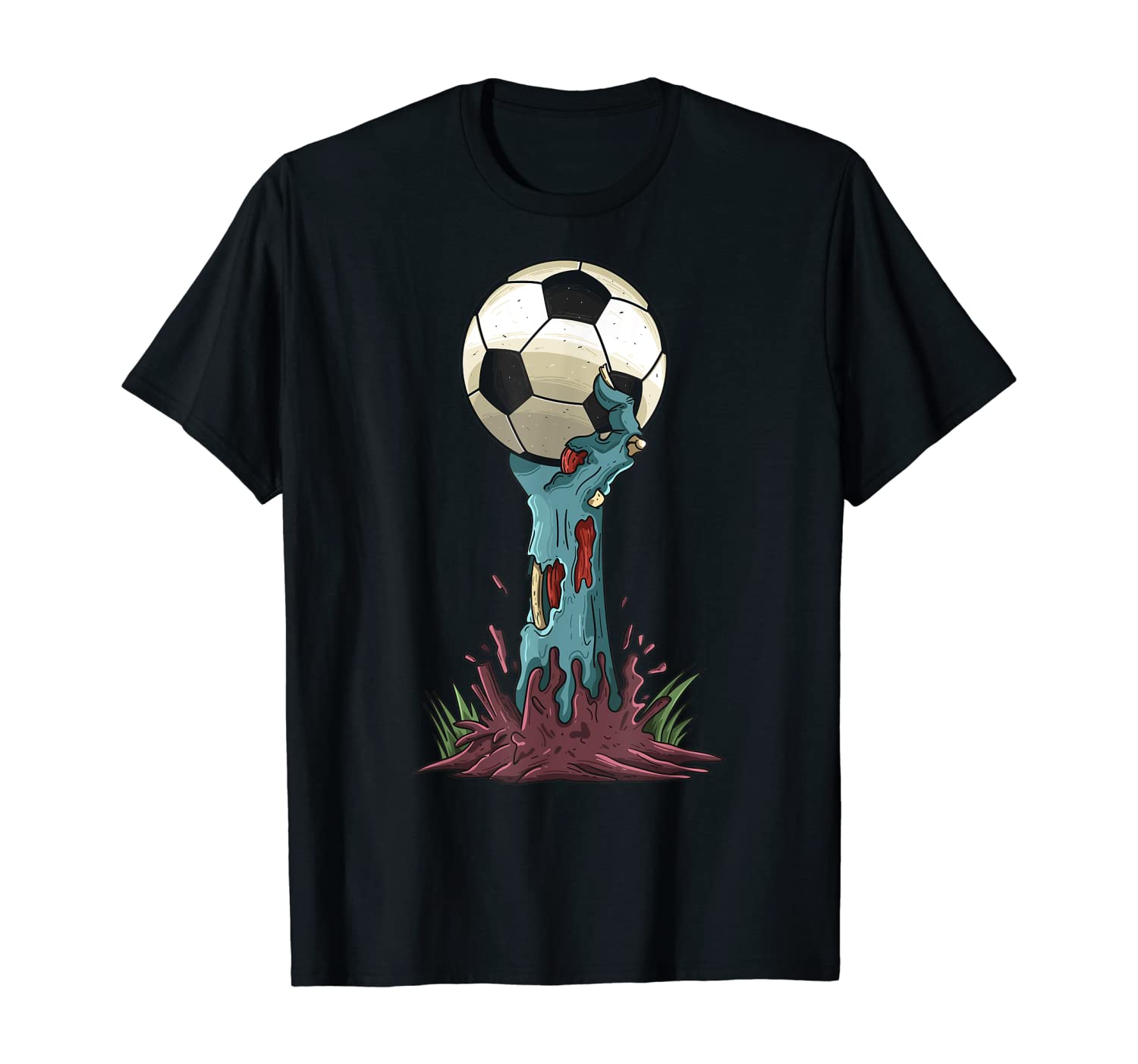 Zombie Hands Soccer Funny Horror Scary Halloween Costume T-Shirt