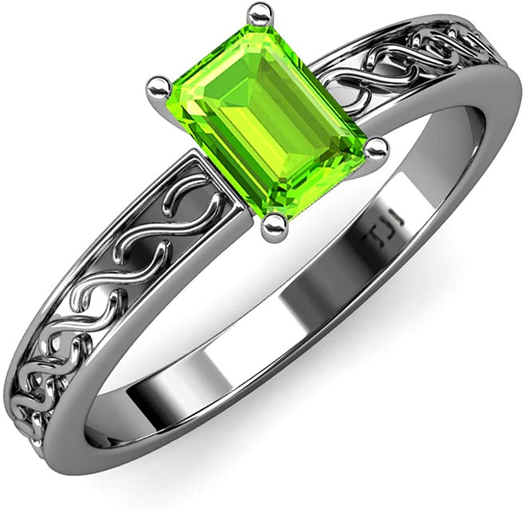 TriJewels Emerald Cut 7x5 mm Peridot 7/8 ct Infinity Womens Solitaire Engagement Ring 14K Gold