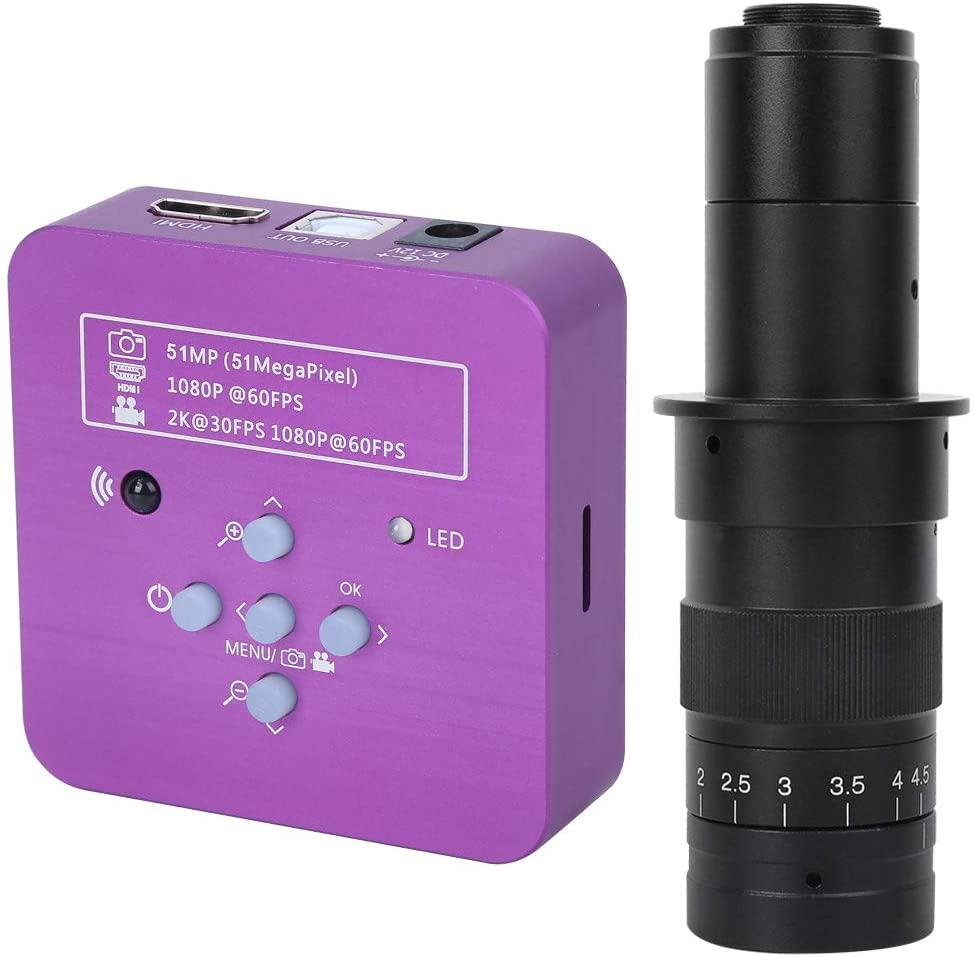 51MP Microscope Camera 180X Magnification C-Mount Camera 56 LED Light USB Digital Microscope for Phone Repair Jewelry Identification, US Plug(HY-1136C)