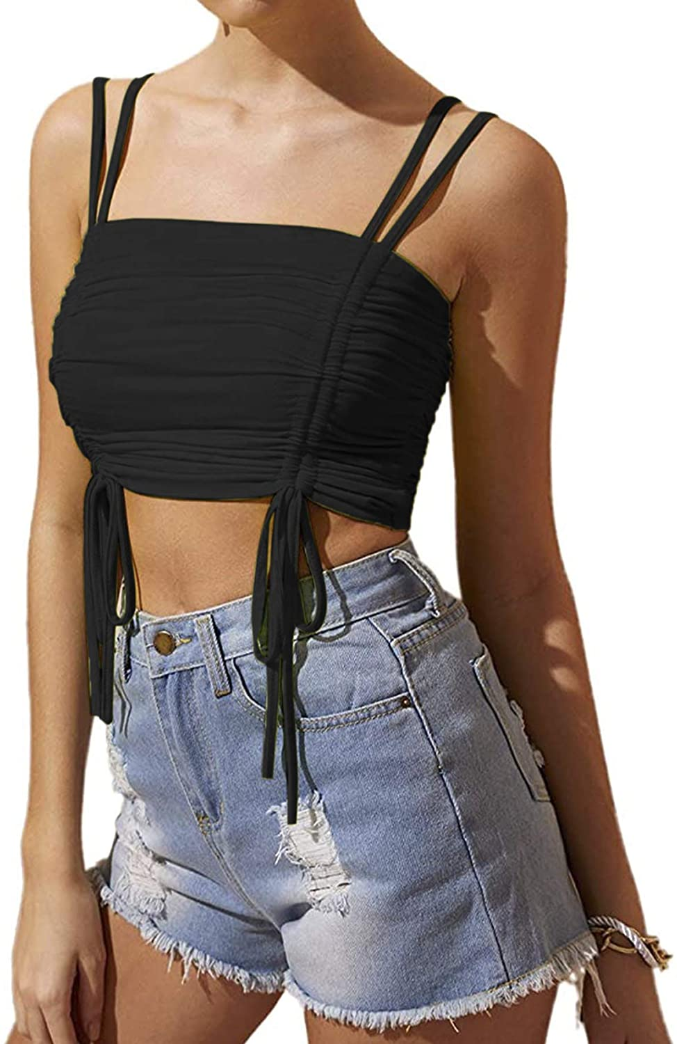 LYANER Women's Casual Drawstring Ruched Strappy Crop Cami Tank Sleeveless Top