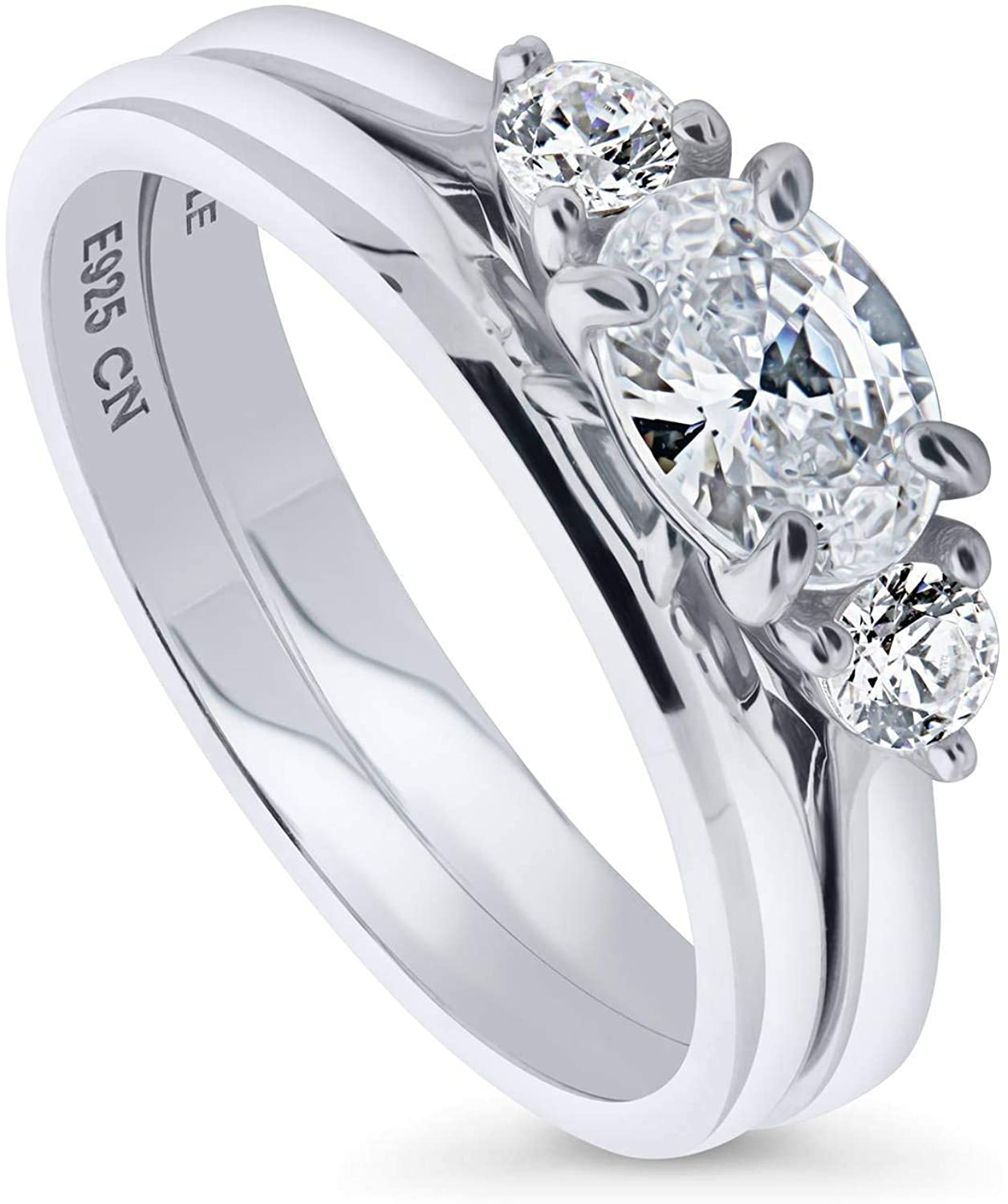 BERRICLE Rhodium Plated Sterling Silver 3-Stone East-West Engagement Wedding Ring Set Made with Swarovski Zirconia Oval Cut 0.98 CTW
