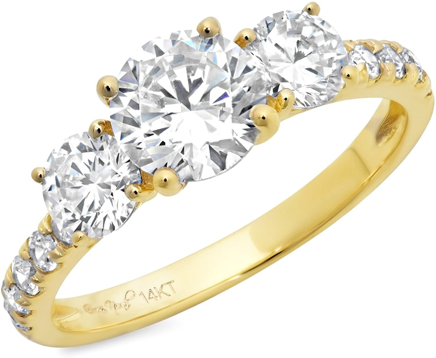 Simulated Diamond 2.10 Ct Round Cut Engagement Wedding Bridal Three Stone Ring Cubic Zirconia 14K Yellow Gold Ring For Women - Clara Pucci