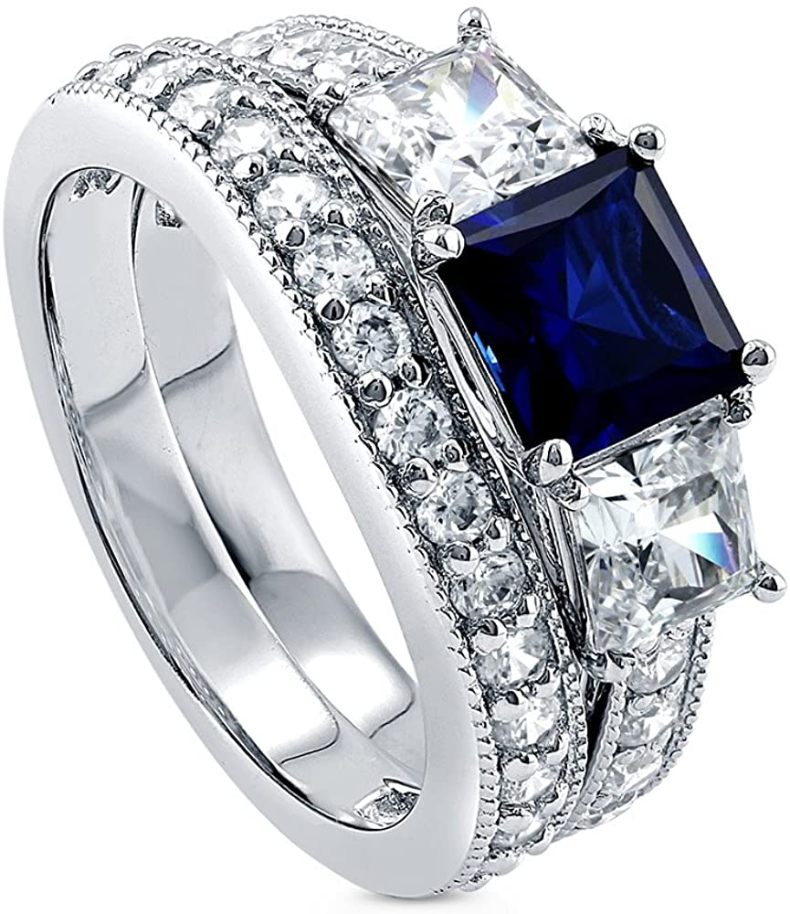 BERRICLE Rhodium Plated Sterling Silver Simulated Blue Sapphire Princess Cut Cubic Zirconia CZ 3-Stone Anniversary Engagement Wedding Ring Set 3.7 CTW