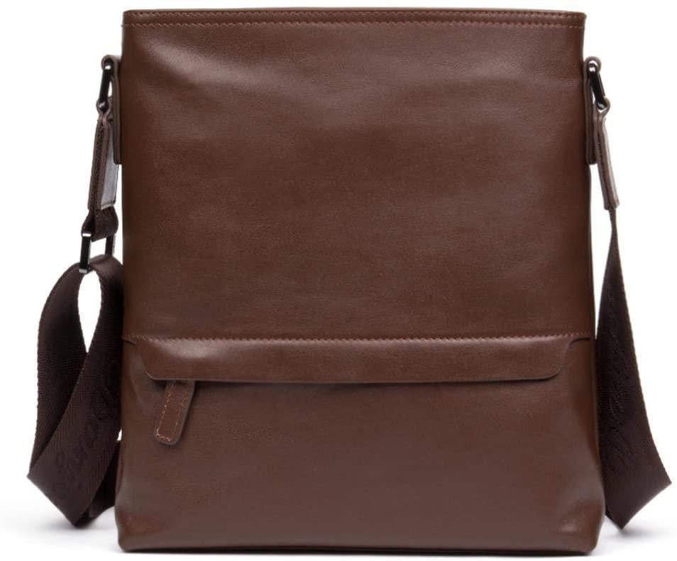 DANJUE new men's bag casual fashion vertical men's shoulder bag first layer leather shoulder bag crossbody bag D181-3 brown