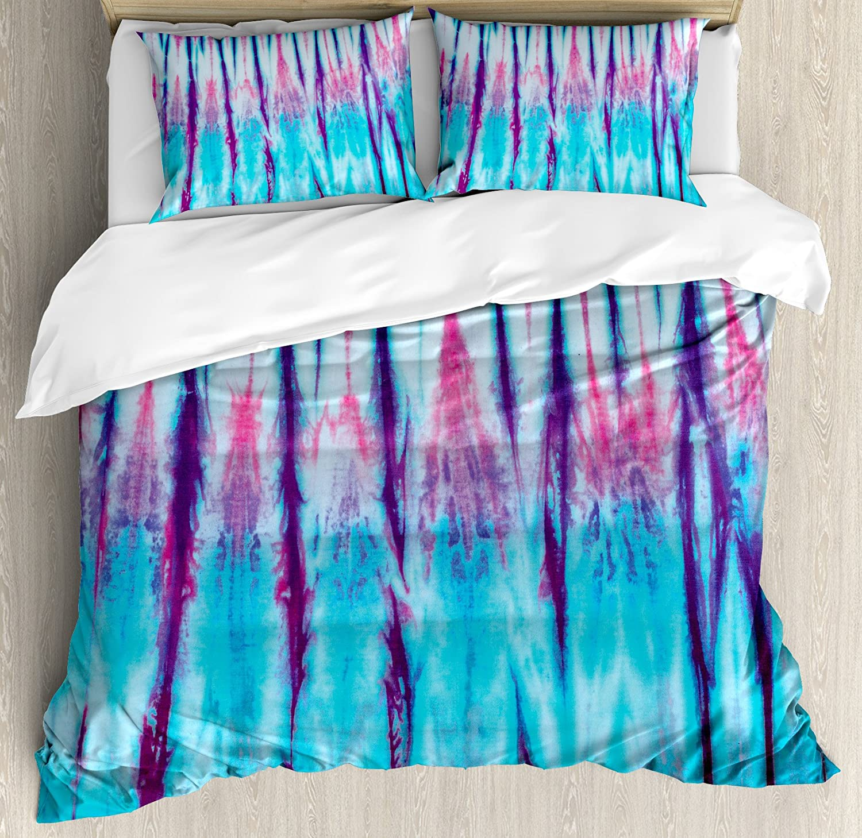Ambesonne Ethnic Duvet Cover Set, Close up of Vertical Gradient Tie Dye Effect Hippie Alter Life Retro Artwork Print, Decorative 3 Piece Bedding Set with 2 Pillow Shams, Queen Size, Blue Pink