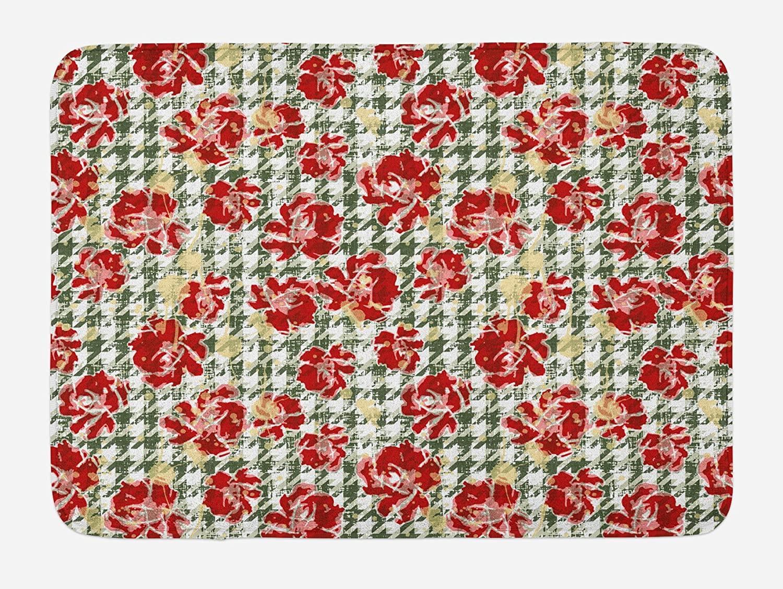 Ambesonne Floral Bath Mat, Vintage Classic with Scottish Houndstooth Vivid Rose Florets Feminine Pattern, Plush Bathroom Decor Mat with Non Slip Backing, 29.5