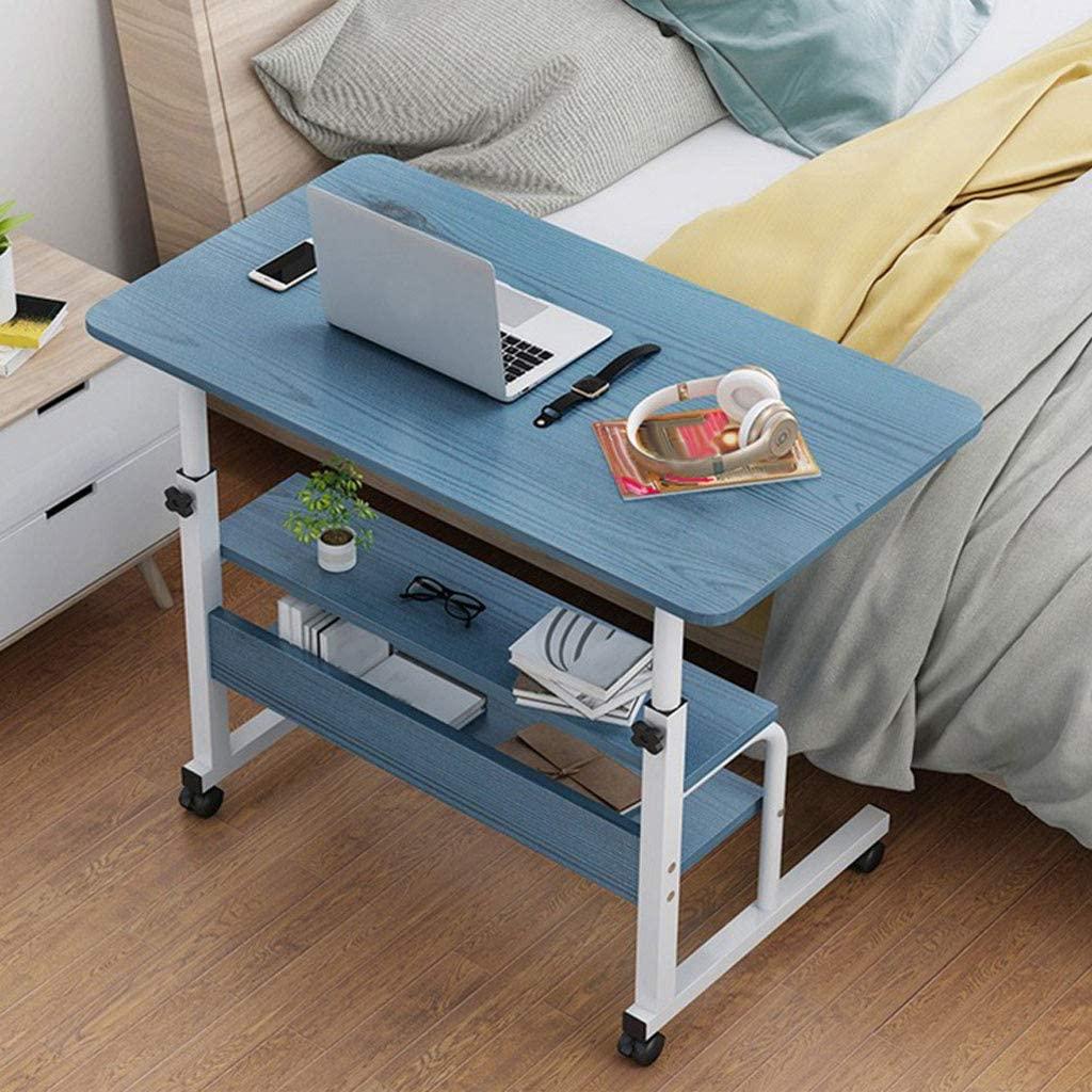 Sanyyanlsy Lifting Computer Desk Bedside Mobile Sofa Notebook Bed Laptop Table PC Laptop Study Workstation Cart with Storage Shelf, Folding Computer Desk Cart, Height Adjustable US Stock (Blue)